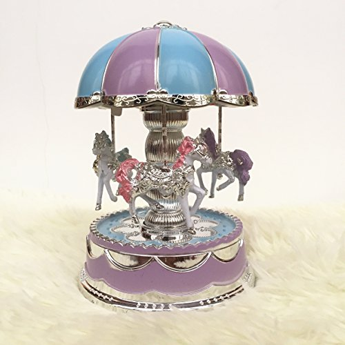 POPgifts Laxury Carousel Music Box,Korea Romantic Park Design,Blue - Mini Horse Music Box