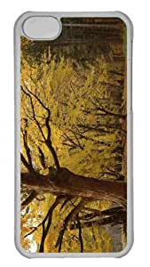 Customized iphone 5C PC Transparent Case - Yellow Tree In Forest Personalized Cover