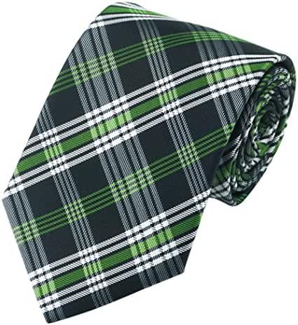 CAOFENVOO Men's Tie Jacquard Woven Silk Formal Plaid Necktie