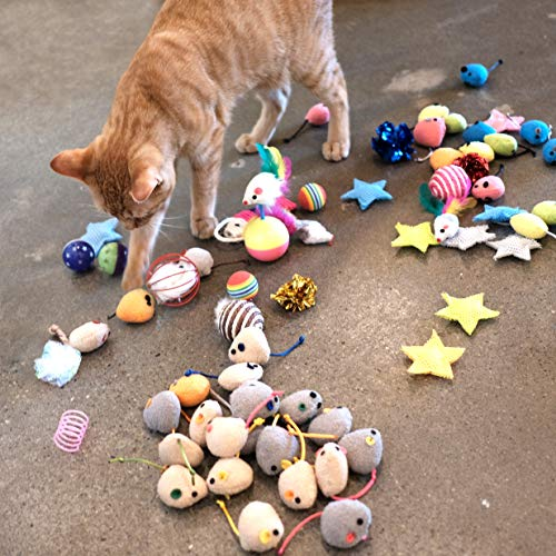 Youngever 20 Pcs Cat Toys, Catnip Mice, Cat Mouse Toys, Catnip Cat Toys, Interactive Play for Cat, Puppy, Kitty, Kitten 5