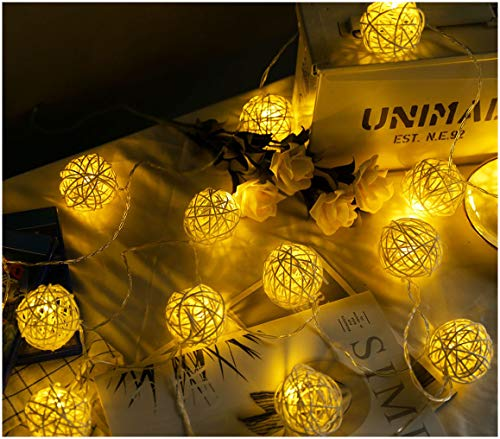 HYAL LUZ Battery Operated LED String Lights 16.4ft 20 Globe Rattan Balls Christmas Decoration Light Indoor Fairy String Lights Decorative for Bedroom Patio Party Decor(Warm White)    ()