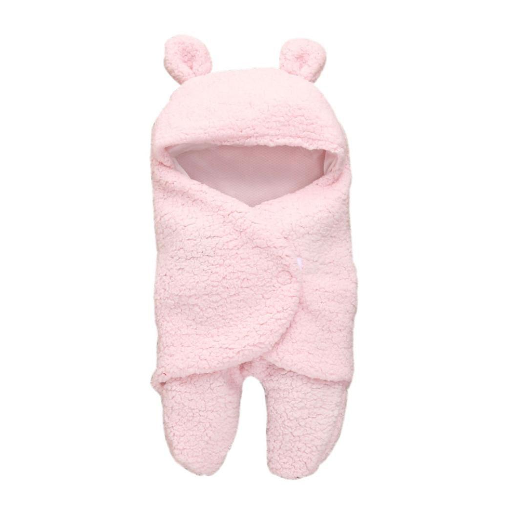 Transer Swaddle Blanket, Newborn Infant Baby Faux Cashmere Receiving Blankets Wrap Sleeping Bag