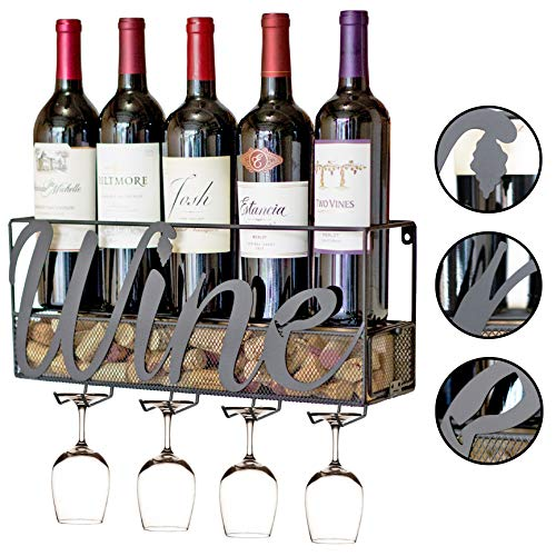 - MKZ Products Wall Mounted Wine Rack | Wine Bottle Holder| Hanging Stemware Glass Holder | Cork Storage | Storage Rack | Home & Kitchen Decor (Wine)