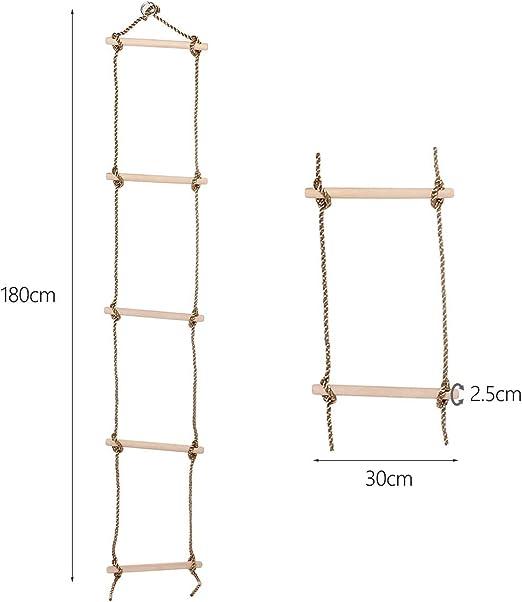 Huangdinghua Herramientas de Ejercicio 5 peldaños de Madera de Escalada Escalera de Cuerda Columpio for niños Herramientas de Ejercicio: Amazon.es: Hogar