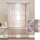Intricate Scrollwork Motif in classic Colors Sheer Window Curtain Panel, 56″ x 84″, Burgundy(Single curtain panel) Review