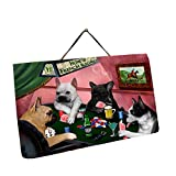 Home of French Bulldog 4 Dogs Playing Poker Photo Slate Hanging