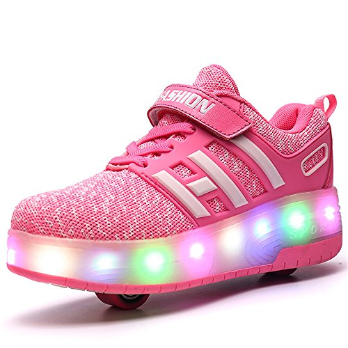 ことわざ導入する最もLED靴 ローラーシューズ ローラー靴 LEDスニーカー 光る靴 発光靴 LEDライト付き 子供/大人共用 男女兼用 両輪タイプローラーシューズ シューズ