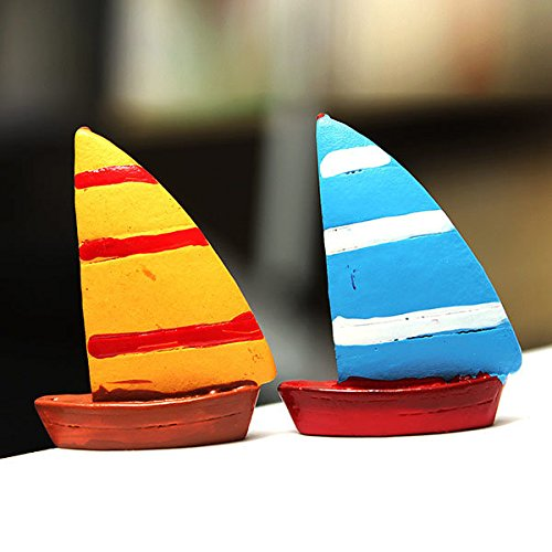 Bazaar DIY Miniatur Leuchtturm Yacht Ornaments Topfpflanze Garten Decor