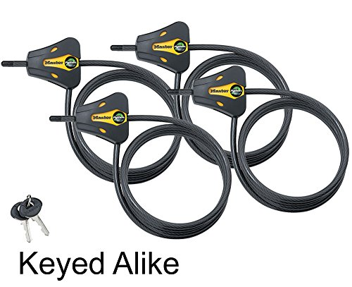 Master Lock - Trail Camera Python Adjustable Cable Locks 8419KA-4 Keyed Coil Cable Lock