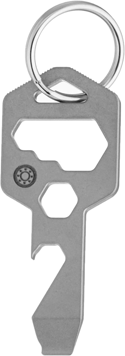 CLOSS 8 in 1 Titanium Multitool Keychain- Bottle Opener, Screwdriver and Wrench Silver