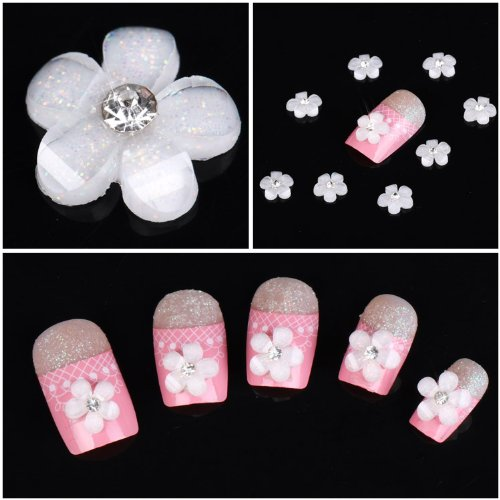 350buy 100pcs White Acrylic 3D Star Flower Slice UV Gel Nail Art Tips DIY Decoration by Jubujub