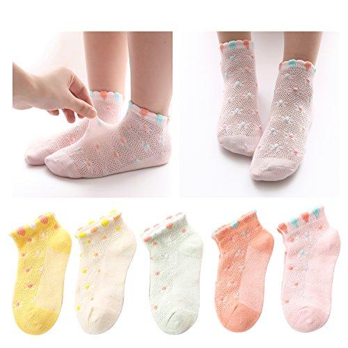 Kidstree Cute Mesh Girls Socks Summer Thin Cotton Toddler Kid Crew Socks 5 Pairs