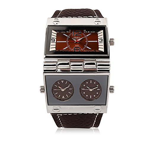 Men's Unique Military Automatic Watches Multi Time Zone Big Face Watches with Square Dial, Genuine Leather Band - Brown Mens Big Square Automatic Watch