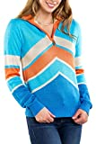 Tipsy Elves Women's Retro Winter-Themed Ski Snow Zip-Up Sweaters for Ladies (Cabin Captain (Blue), Medium)