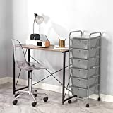 Urban Shop 6 Drawer Rolling Storage Cart, Grey
