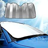 Transer Foldable Windshield Visor Sun Shade Sunshade Cover Car Front Window Snow and Ice Protector with Magnetic Suctions (silver)