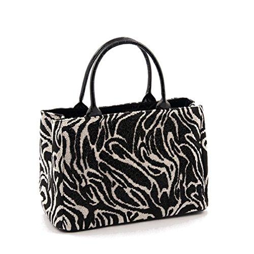 Handtasche, JeriSchwarz und Weiß,in Stoff, Made in Italy,Größe in cm: 30 L x 20 H x 13 p