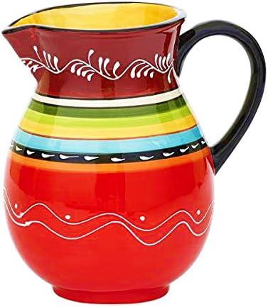 Design Imports Ceramic La Cocina Fiesta Striped Pitcher