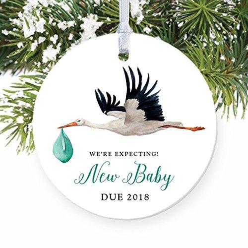Stork Pregnancy Announcement Ornament, 2018 Expecting Parents Porcelain Ceramic Ornament, 3