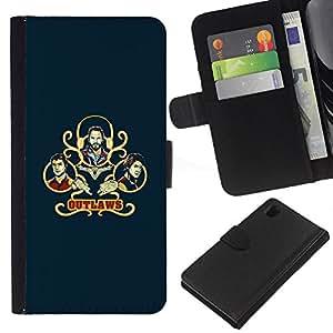 YiPhone /// Tirón de la caja Cartera de cuero con ranuras para tarjetas - Outlaws - Sony Xperia Z1 L39