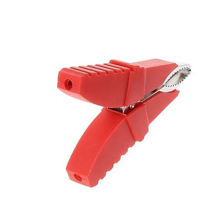 Pinzas de cocodrilo aislantes 2 unidades, para cables de prueba de bater/ía de coche, color rojo y negro Kalttoy