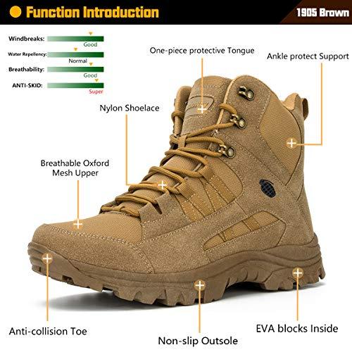 Ansbowey Bottes Hommes Chaussures de Randonnée Femmes Tactiques Militaire Combat Boots Exterieur antidérapantes Bottines… 3