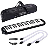 CAHAYA Melodica 37 Keys Pianica FDA Approved Melodicas with Long Pipe Short Mouthpiece and Carrying Bag for Children Student, Black