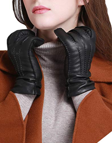 YISEVEN Women's Cashmere Lined Deerskin Leather Gloves Handsewn Classical Three Points and Long Cuff for Winter Hand Warm Fur Heated Dress Driving Motorcycle Luxury Gifts, Black 8.0