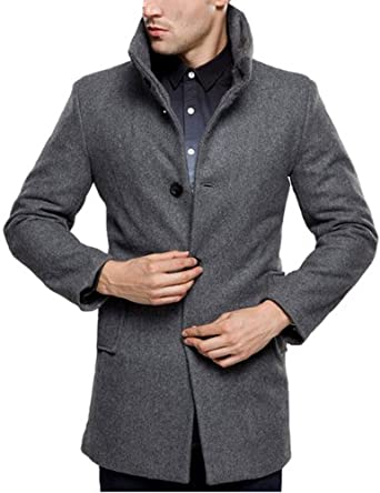 SSLR Men's British Single Breasted Slim Wool Coat at Amazon Men's