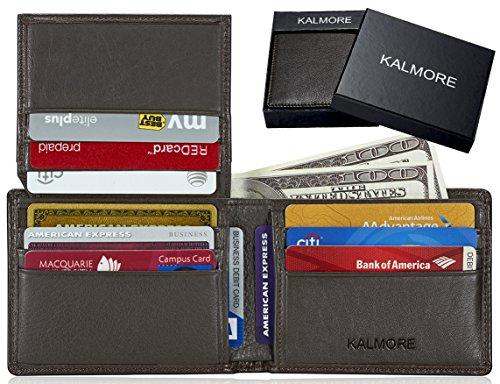 KALMORE Men's RFID Blocking Flip-ID Window Travel Bifold Genuine Leather Wallet - in Gift Box (Brown) Dallas Cowboys Business Card Holder
