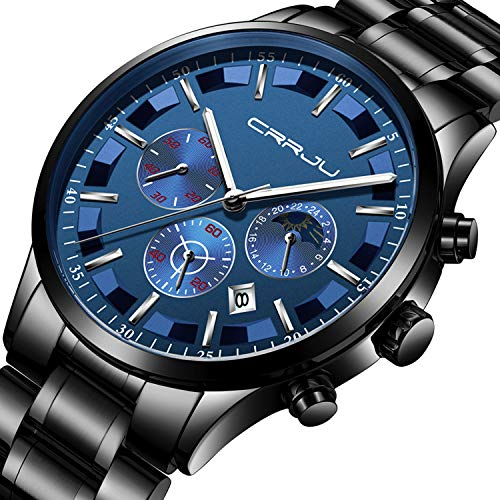 (Mens Watches Waterproof Stainless Steel Sport Analogue Quartz Watch Men Business Casual Chronograph Date Moon Phase Military Wrist Watch - Black Blue)
