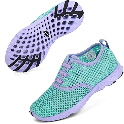 ALEADER Girls Sneakers Sport Aqua/Running/Walking Shoes for Beach Swim Pool Camp Purple/New Mint 5 M US Big Kid