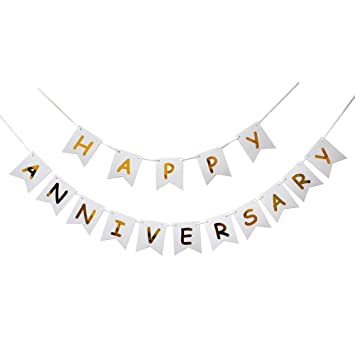 amazon com happy anniversary banner gold foiled sign first