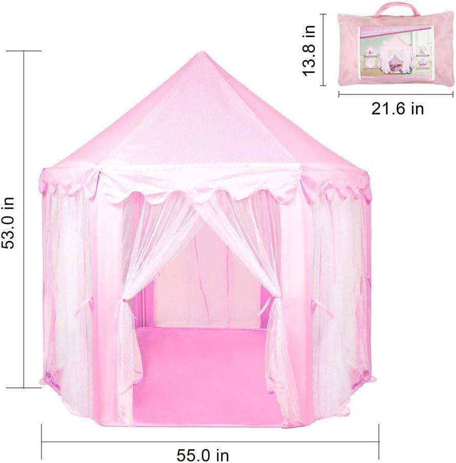 Castillo de Princesa Tienda de campa/ña para ni/ños biggroup Casa de Juegos para ni/ños con estanter/ía de PVC Resistente f/ácil de Plegar