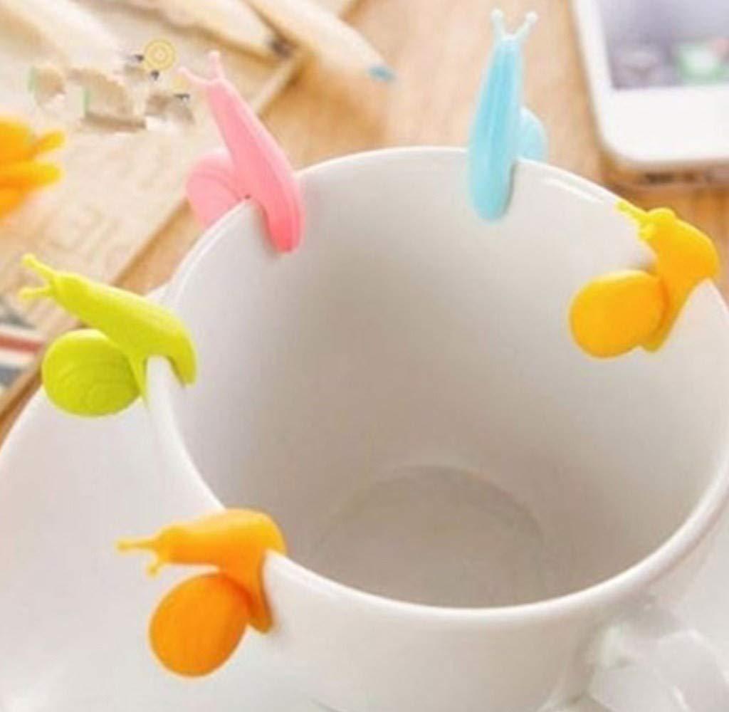 Cup Edge Tea Bag Snail Holder Novelty Cute Snail Shape Silicone Tea Bag Holder Candy Colors Mug Gift (Random, 3.51.5cm)