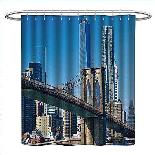 Anniutwo United States Shower Curtains Digital Printing Lower Manhattan Skyline Brooklyn Bridge in New York City Famous Landmark Bathroom Accessories W69 x L75 Pale Blue ()