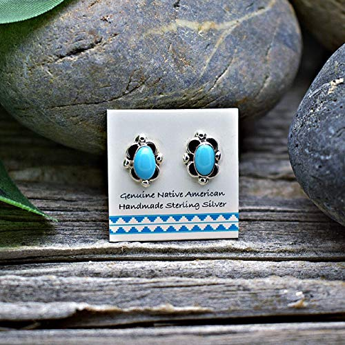 Genuine Sleeping Beauty Turquoise Stud Earrings, 925 Sterling Silver, Authentic Navajo Native American Handmade in the USA, Natural Stone, Small and Dainty for Women, Light Blue Southwest Jewelry