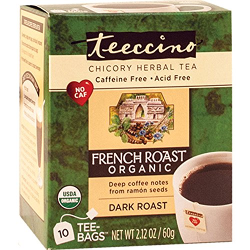 Teeccino French Roast Organic Chicory Herbal Tea Bags, Caffeine Free, Acid Outspoken, 10 Count (Pack of 4)