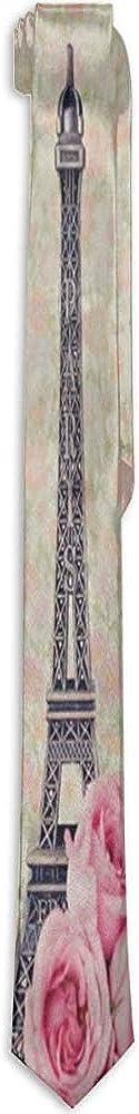 Pretty Moonlight Herren Krawatten Rose Flower Paris Eiffelturm Krawatte Vintage Krawatten f/ür Erwachsene