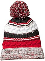 Sport-Tek Men's Pom Pom Team Beanie OSFA True Red/ Black/ White