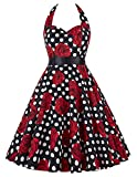 Search : GRACE KARIN Women Vintage 1950s Halter Cocktail Party Swing Dress With Sash