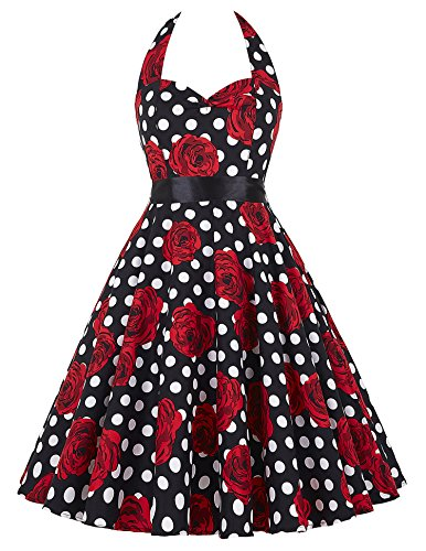 GRACE KARIN Women's Halter Vintage Rockabilly Ball Dress Color D(M)