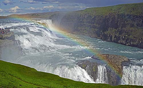 Gullfoss Waterfall - Home Comforts Canvas Print Waterfall Gradually Gullfoss Water Iceland Vivid Imagery Stretched Canvas 10 x 14