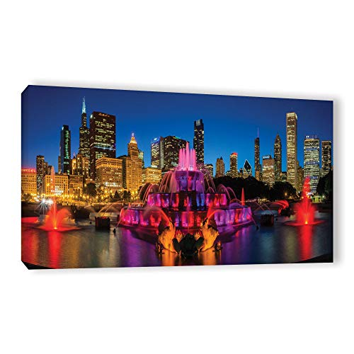 ArtWall Cody York's 'Chicago Skyline and Buckingham Fountain ' Gallery Wrapped Canvas - Purple 18 x 36