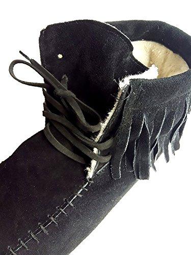 Wealsex Mujer Otoño E Invierno Calentar Botas De Flecos Moda Zapatos Cargadores Cómodo Botas Mujer Negro y algodón