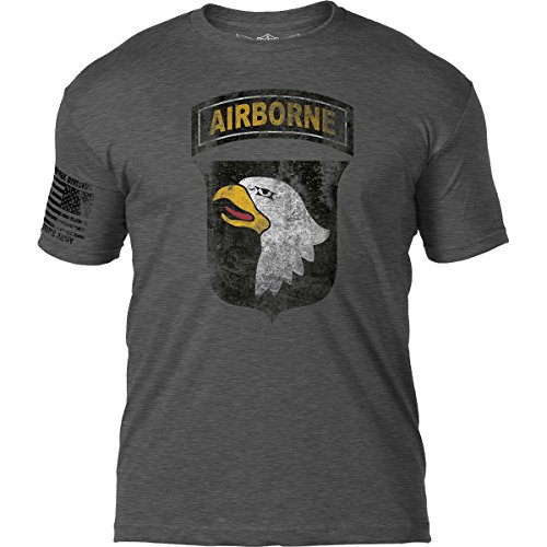 7.62 Design Army 101st Airborne Division 'Distressed' Patriotic Men's T Shirt,Heather Dark ()
