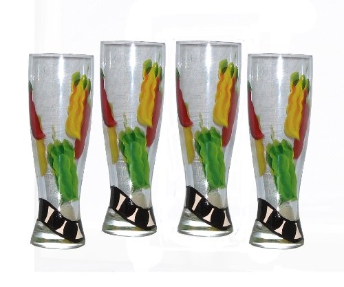 ArtisanStreet's 22 oz Pilsner Glasses in Chili Design. Set of 4. Hand Painted. by ArtisanStreet