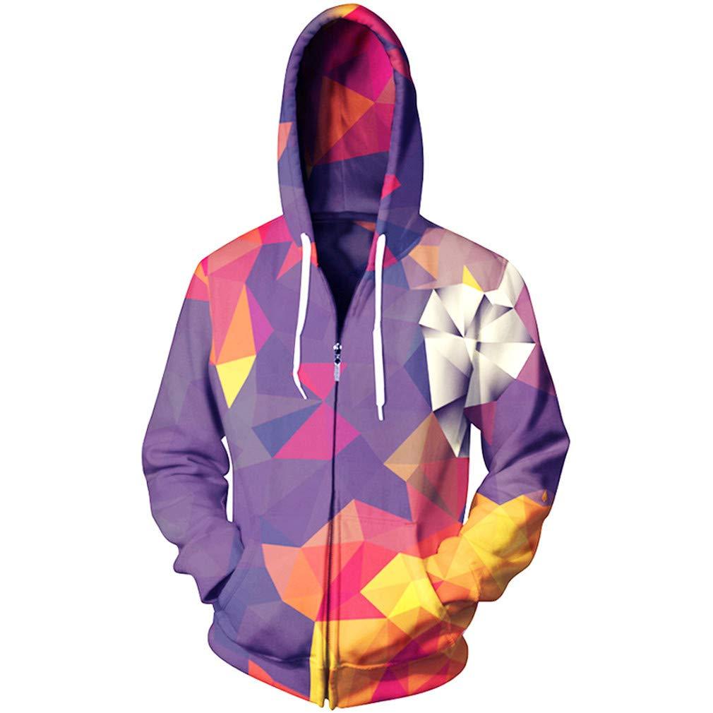 UkEdNs Color Blocks Zipper Hoodies Men Fleece Autumn Winter Sweatshirt Plus Size 3D Print Tracksuit