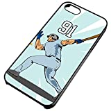 iPhone Case Fits iPhone 5c Baseball Homerun Hitter Grand Slam Any Custom Jersey Number 91 Black Rubber