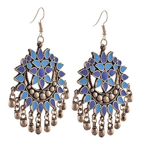 Zephyrr Fashion German Silver Afghani Dangler Hook Chandbali Earrings For Girls and Women